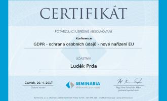 Certifikát gdpr